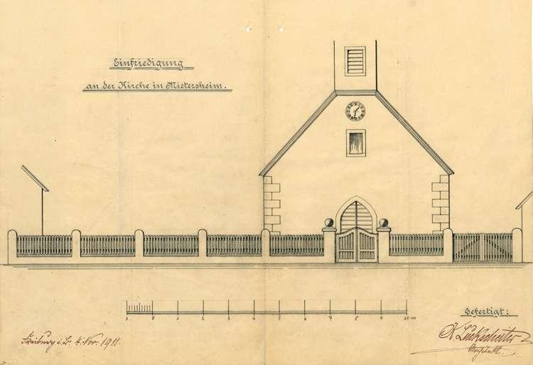 Einfriedung des Kirchplatzes in Mietersheim durch die Gemeinde daselbst, Bild 2