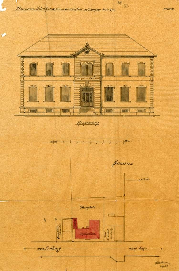 Bau eines neuen Schulhauses in der Gemeinde Mietersheim und dessen Unterhaltung, Bild 1