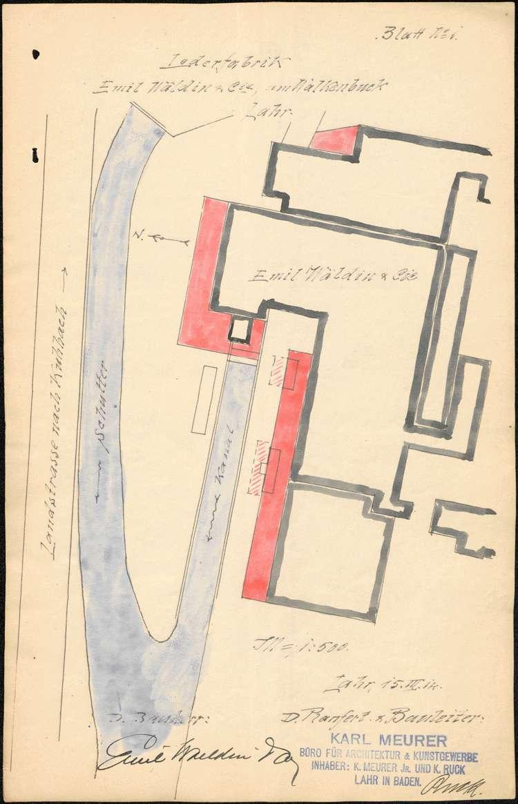 Baumaßnahmen der Firma Emil Waeldin & Cie. in Lahr, Bild 1
