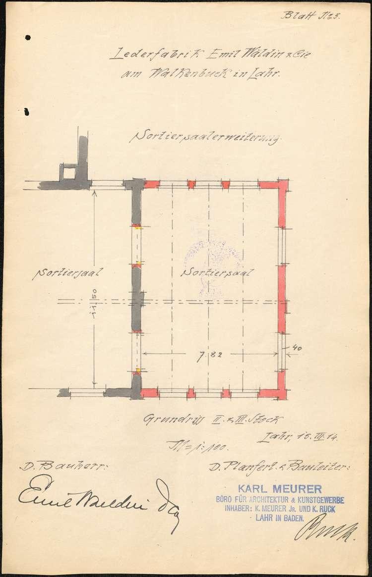 Baumaßnahmen der Firma Emil Waeldin & Cie. in Lahr, Bild 2