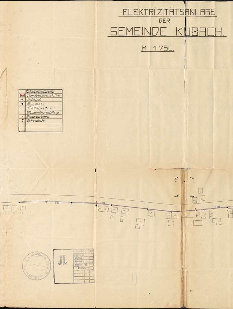 Einführung der elektrischen Energie in der Gemeinde Kuhbach; Verkauf des elektrischen Ortsnetzes, Bild 1