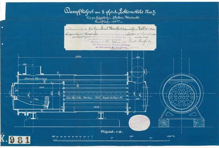 Gesuch des Sägewerkbesitzers Alois Benz in Kuhbach um Genehmigung zur Aufstellung eines feststehenden Dampfkessels, Bild 1