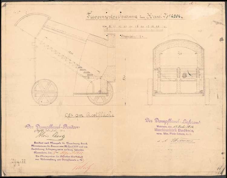 Gesuch des Sägewerkbesitzers Alois Benz in Kuhbach um Genehmigung zur Aufstellung eines feststehenden Dampfkessels sowie Wartung desselben, Bild 2