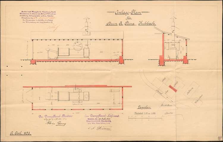 Gesuch des Sägewerkbesitzers Alois Benz in Kuhbach um Genehmigung zur Aufstellung eines feststehenden Dampfkessels sowie Wartung desselben, Bild 3
