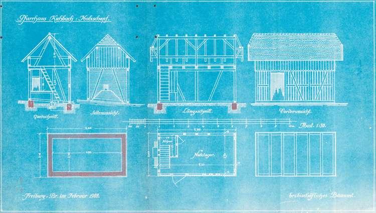 Erstellung eines Holzschopfes beim katholischen Pfarrhaus in Kuhbach, Bild 1