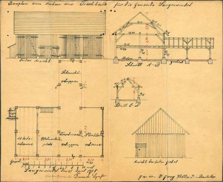 Erstellung einer Dreschmaschinenhalle durch die Gemeinde Langenwinkel, Bild 1