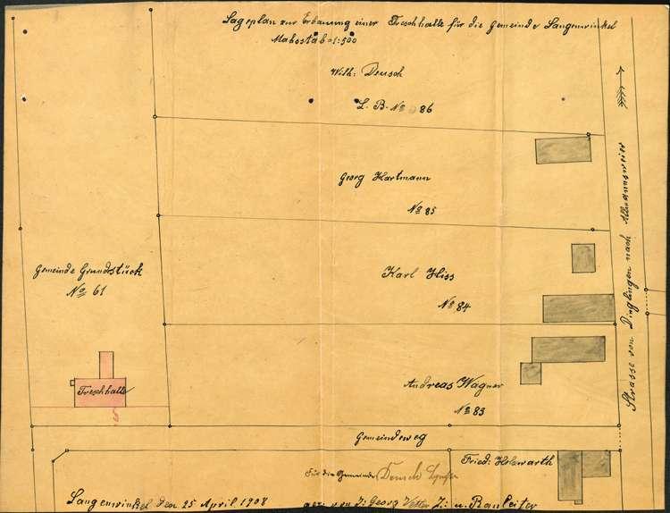 Erstellung einer Dreschmaschinenhalle durch die Gemeinde Langenwinkel, Bild 2