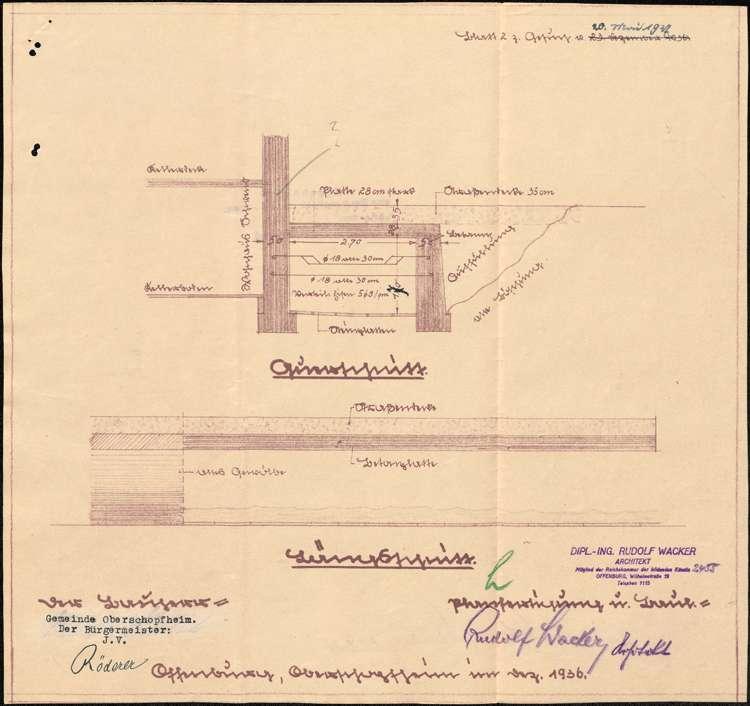 Gesuch der Gemeinde Oberschopfheim um Genehmigung zum Bau einer Überdeckung des Dorfbaches vor dem Neubau des Kaufmanns Wilhelm Schwend in Oberschopfheim, Bild 2
