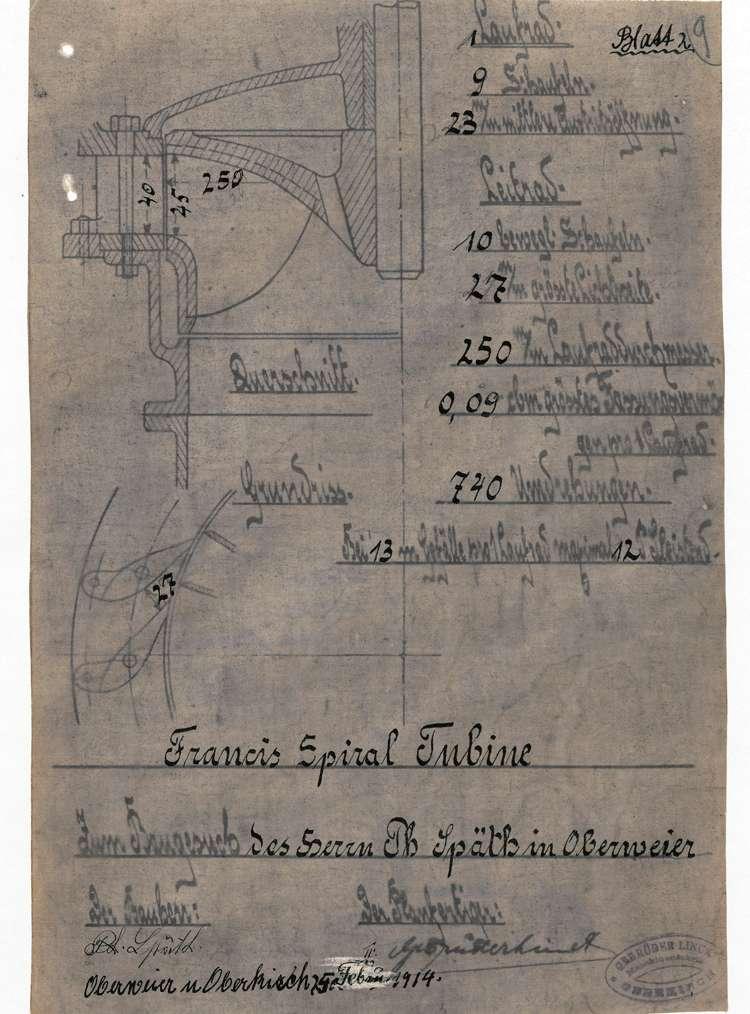 Gesuch des Zimmermeisters Philipp Späth in Oberweier um Genehmigung zur Errichtung einer Turbinenanlage an Stelle des alten Wasserrades in seinem Sägewerk, Bild 2