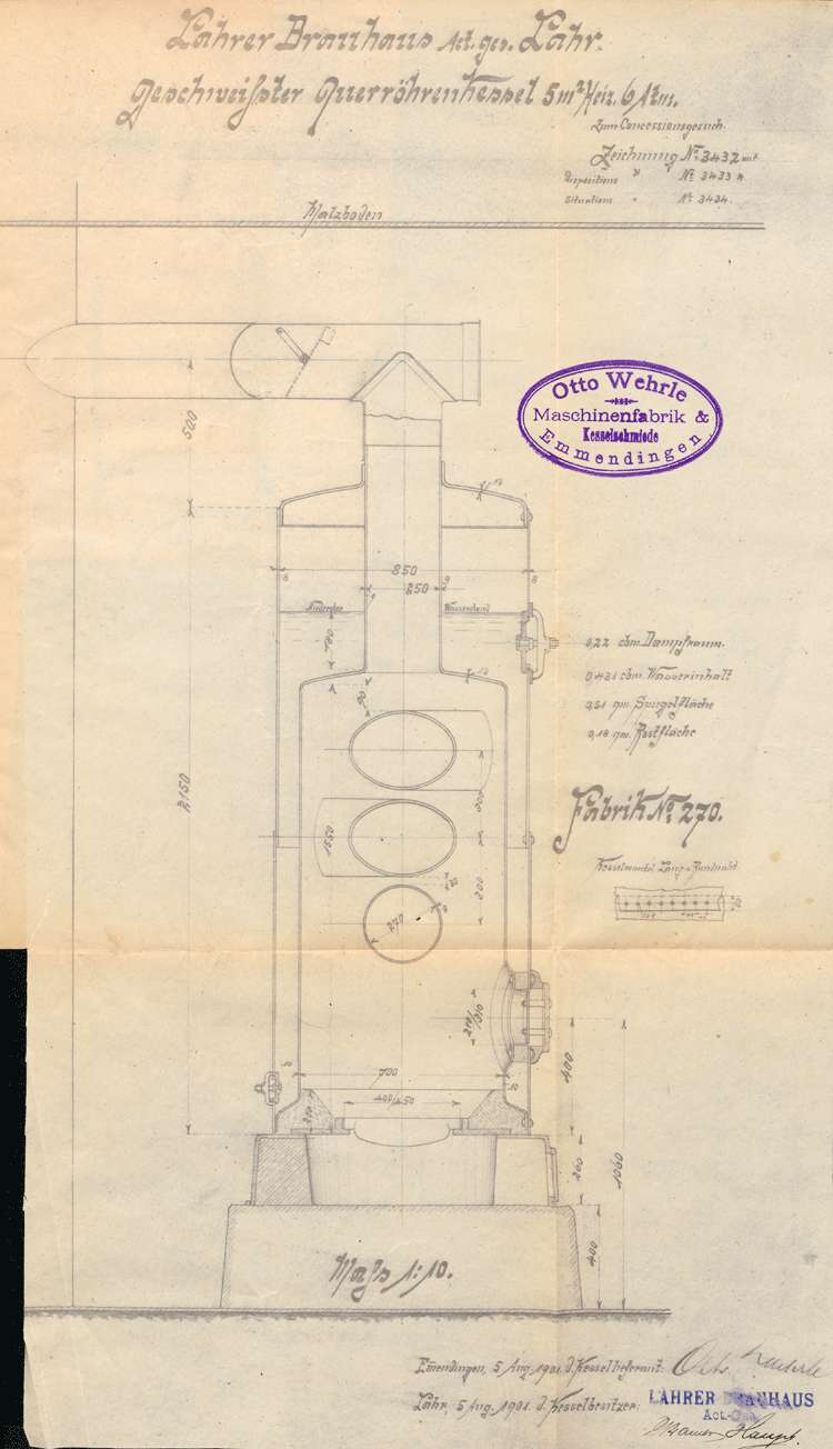 Urkunde über die Genehmigung zur Anlegung eines Dempfkessels für die Lahrer Brauhaus AG in Dinglingen, Bild 1