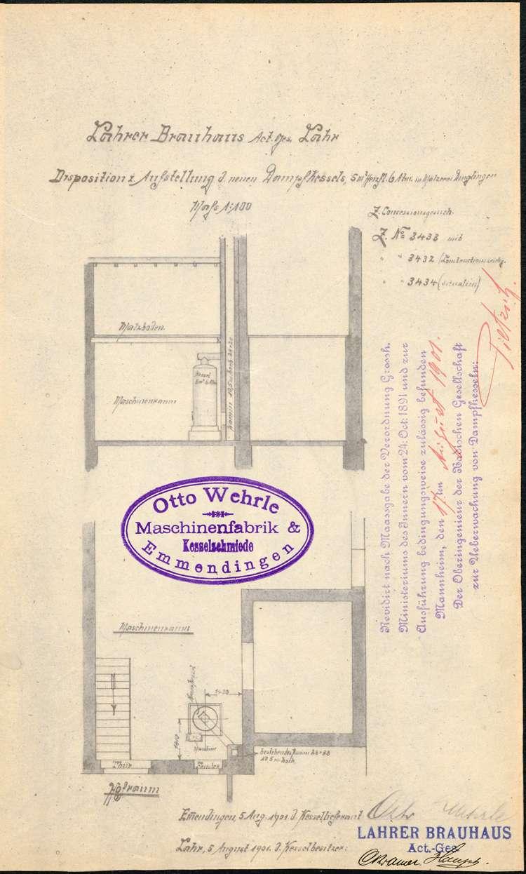 Urkunde über die Genehmigung zur Anlegung eines Dempfkessels für die Lahrer Brauhaus AG in Dinglingen, Bild 2