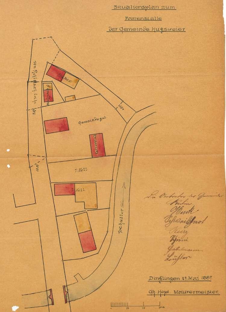 Bau eines Farrenstalls und eines Rathauses in der Gemeinde Hugsweier, Bild 1