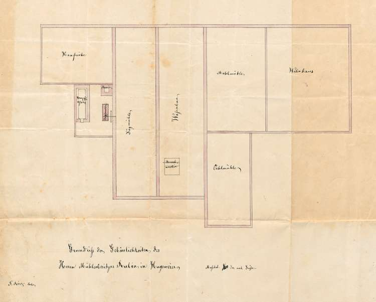 Gesuch des Carl Rubin in Hugsweier um Genehmigung zur Errichtung einer Dampfmaschine zum Betrieb seiner Mühle und seines Sägewerkes, Bild 1