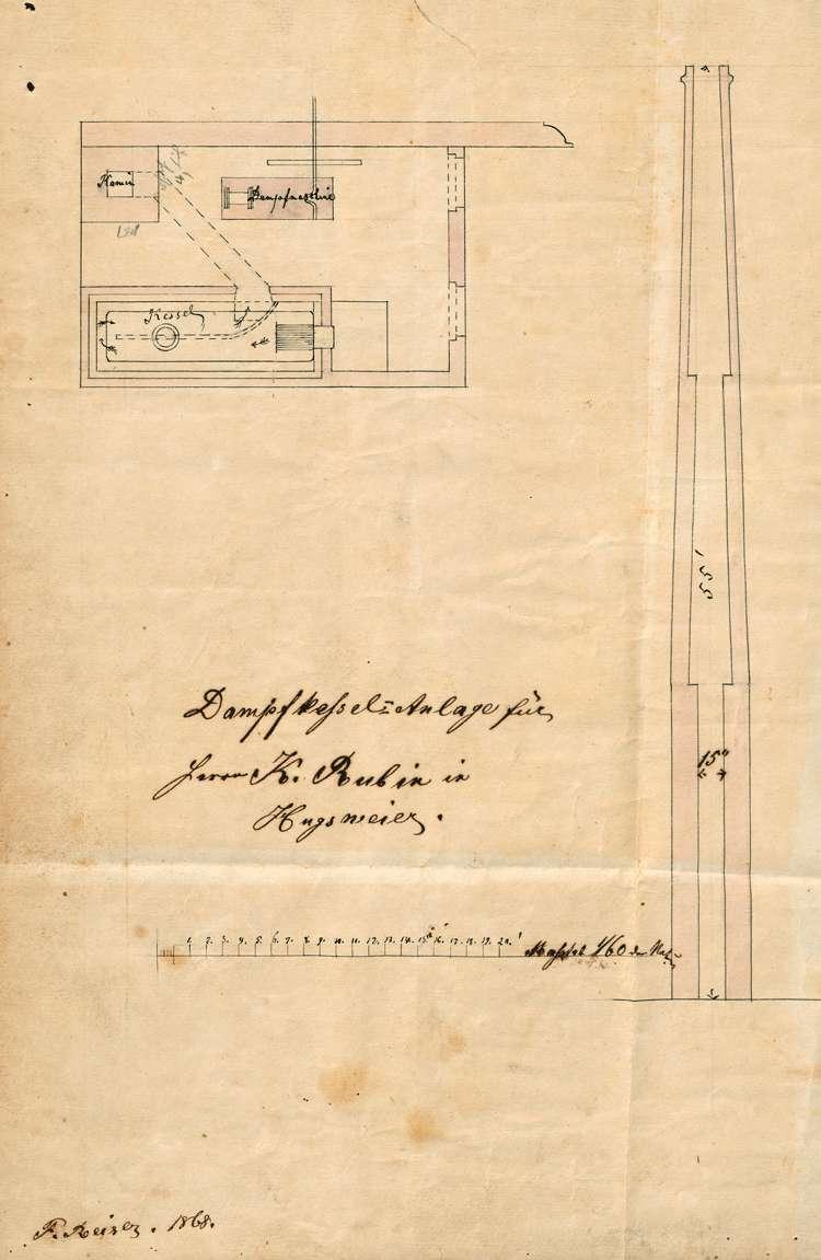 Gesuch des Carl Rubin in Hugsweier um Genehmigung zur Errichtung einer Dampfmaschine zum Betrieb seiner Mühle und seines Sägewerkes, Bild 2