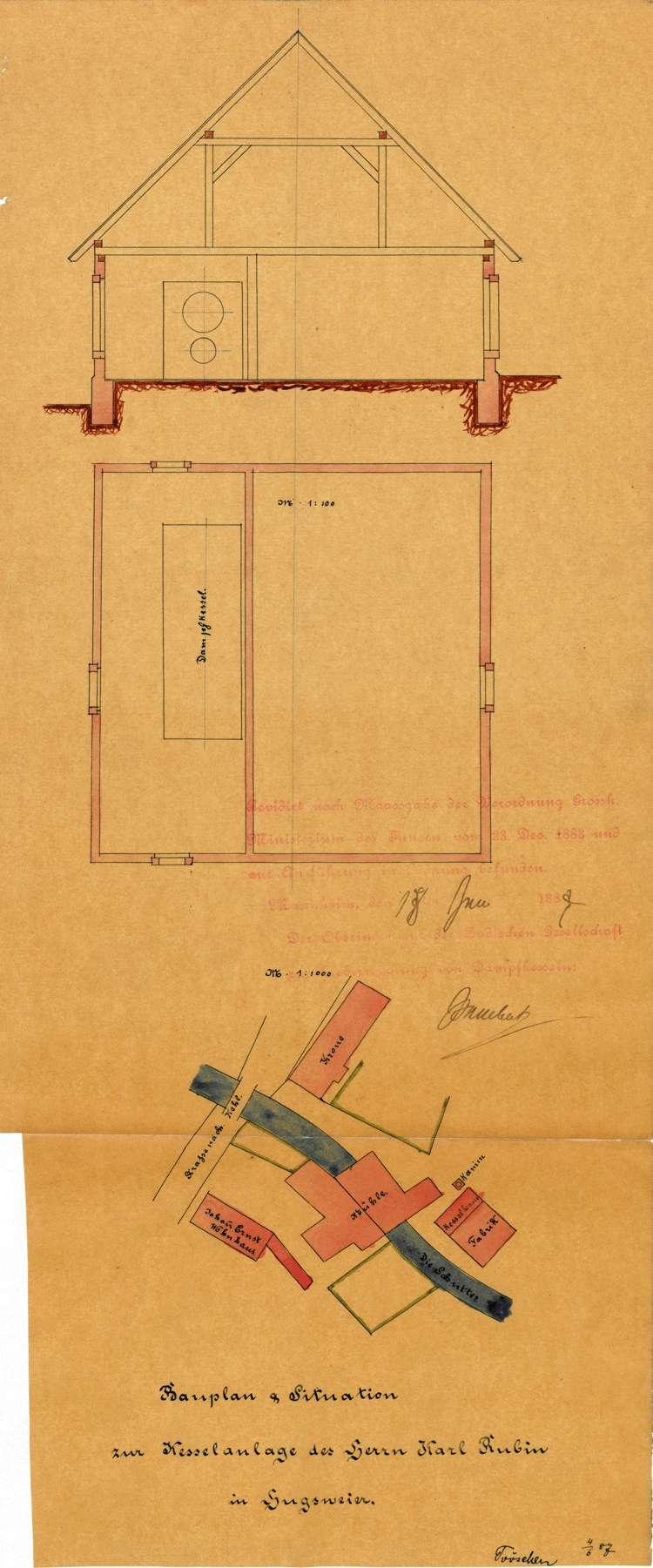 Gesuch des Karl Rubin in Hugsweier um Genehmigung zur Errichtung eines Dampfkessels, Bild 2