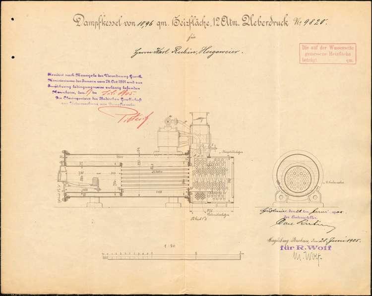 Errichtung und Betrieb eines feststehenden Dampfkessels durch Karl Rubin in Hugsweier, Überprüfung des Kessels sowie dessen Außerbetriebnahme, Bild 1