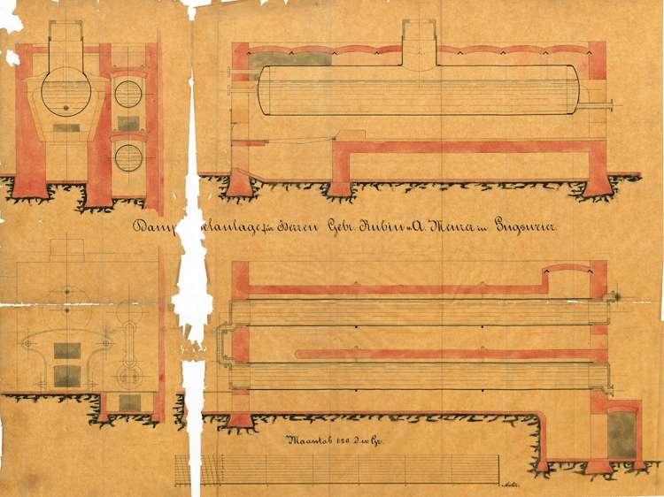 Gesuch der Brüder Karl und August Rubin in Hugsweier um Genehmigung zur Errichtung einer dampfbetriebenen Säge sowie zur Aufstellung eines feststehenden Dampfkessels, Bild 1