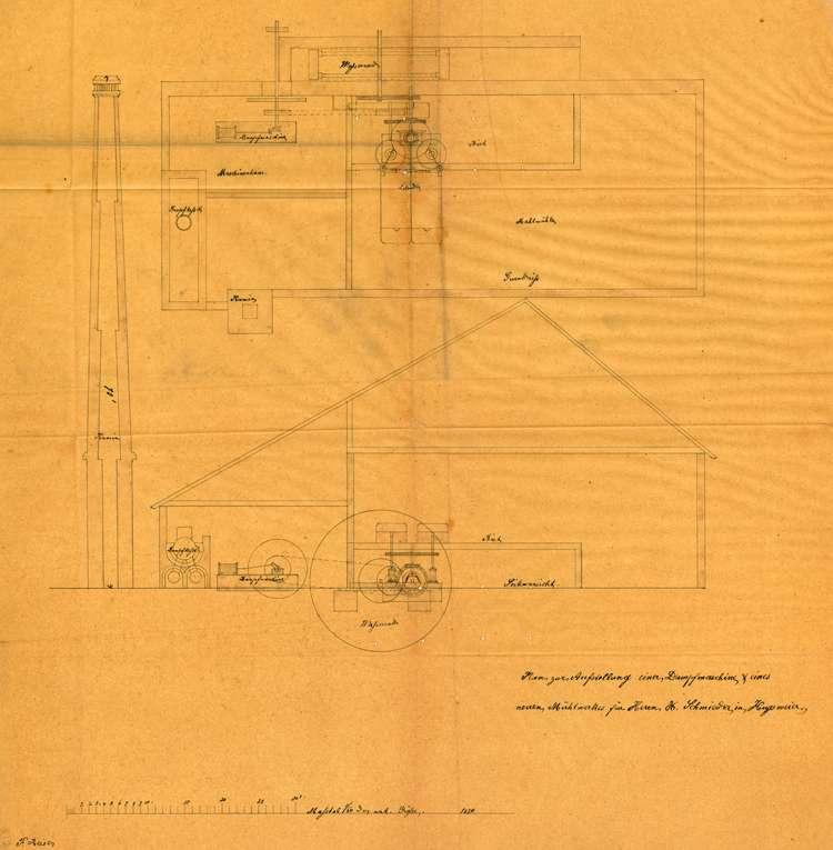 Aufstellung einer Dampfmaschine durch Xaver Schmieder sowie Gesuch seines Nachfolgers Karl Schmitt/Carl Schmidt um Betrieb des Dampfkessels sowie dessen Außerbetriebnahme, Bild 2