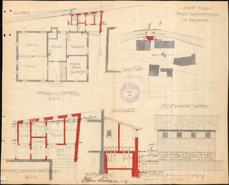 Instandhaltung und Verbesserung des Gebäudes der Kleinkinderschule in Hugsweier, insbesonder Einbau einer Abortanlage, Bild 1