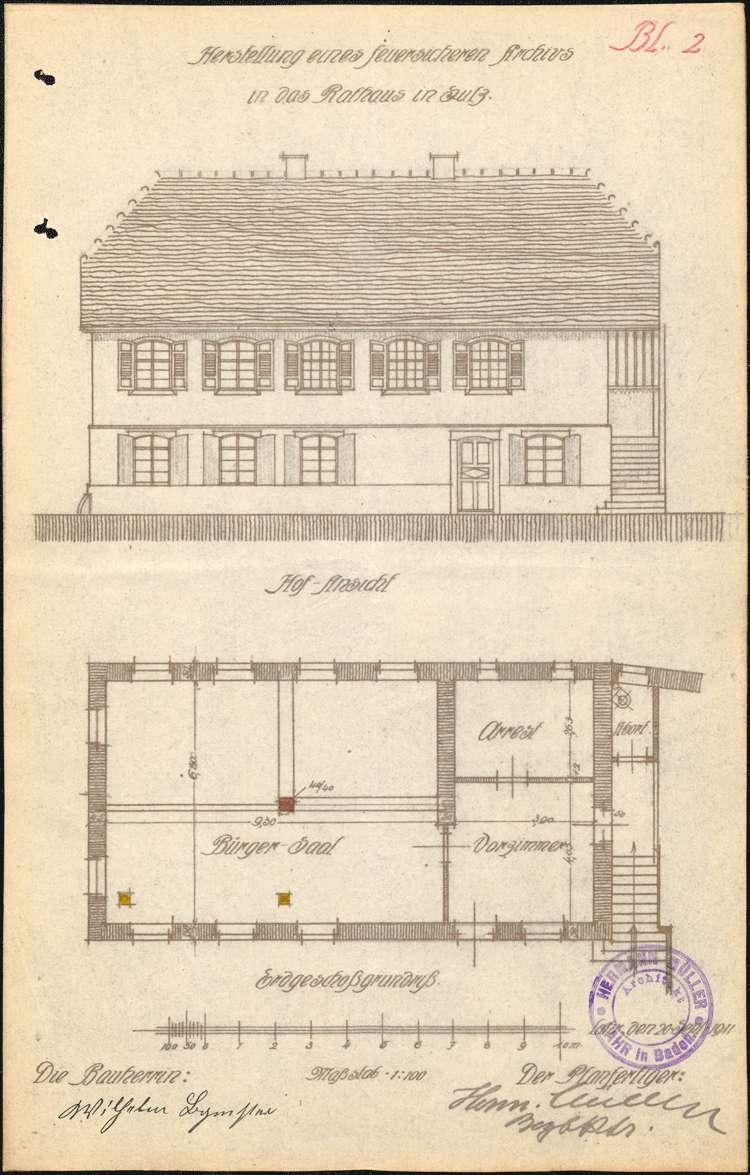 Erstellung und Unterhaltung eines feuersicheren Archivs im Rathaus der Gemeinde Sulz, Bild 2