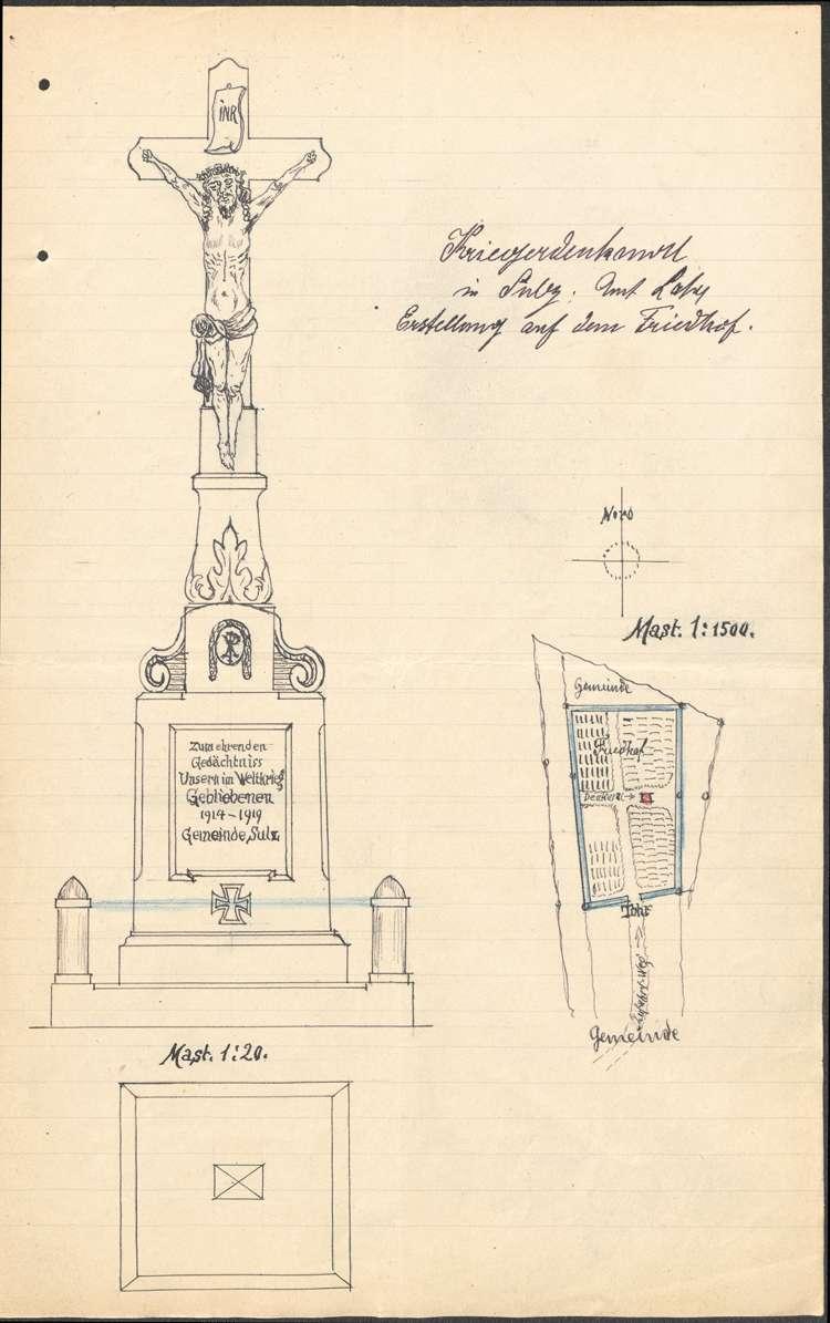 Erstellung eines Kriegerdenkmals auf dem Friedhof in Sulz, Bild 1