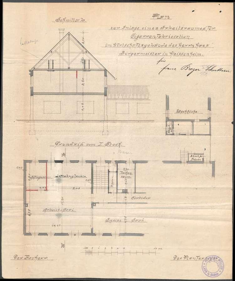 Errichtung und Betrieb der Zigarrenfabrik des Franz Breger in Meißenheim, Bild 1