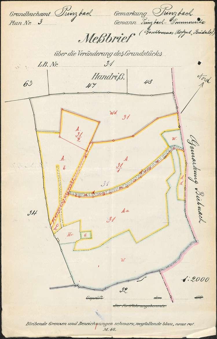 Gesuch des Ludwig Schweiß in Prinzbach um Genehmigung zur Abtrennung von Grundstücksteilen von seinem geschlossenen Hofgut auf dortiger Gemarkung, Bild 1
