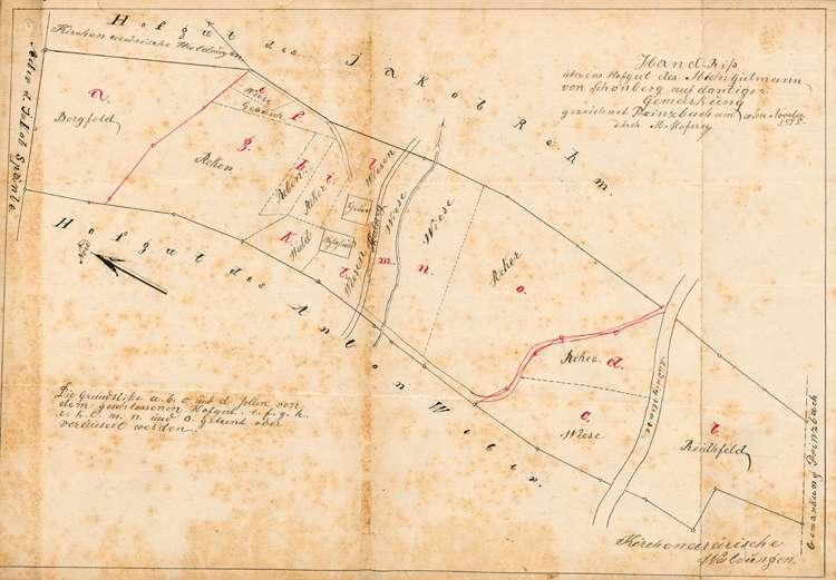 Gesuch des Joseph Gutmann in Schönberg um Genehmigung zur parzellenweisen Veräußerung seines geschlossenen Hofgut auf dortiger Gemarkung, Bild 1