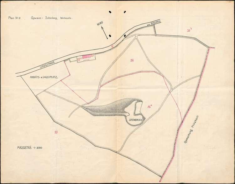 Gesuch des Alfred Heitzmann und des Ludwig Himmelsbach, beide in Schönberg, um Genehmigung zur Abtrennung einer Parzelle von ihrem geschlossenen Hofgut auf dortiger Gemarkung, Bild 1