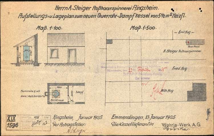 Aufstellung eines Dampfkessels bei der Firma A. Steiger Rosshaarspinnerei Ringsheim, Bild 1