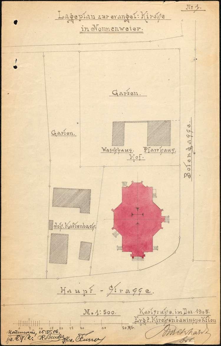 Bau einer neuen evangelischen Kirche in Nonnenweier, Bild 1