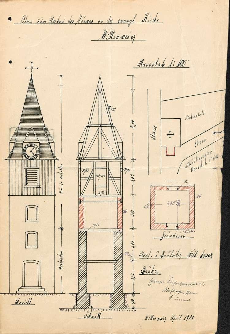 Baumaßnahmen an der Kirche in Wittenweier sowie Eintragung der Eigentumsverhältnisse an den dortigen Kirchengebäulichkeiten ins Grundbuch, Bild 2