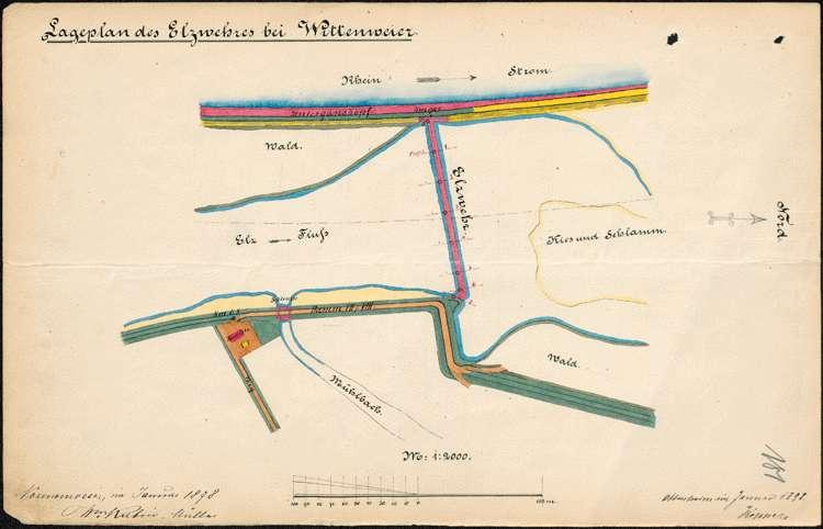 Entnahme von Kies hinter der Baulinie am Rhein bei Wittenweier; Baumaßnahmen an den Rheindämmen; Elzwehr bei Wittenweier; Rheinschifffahrt bei Wittenweier, Bild 1