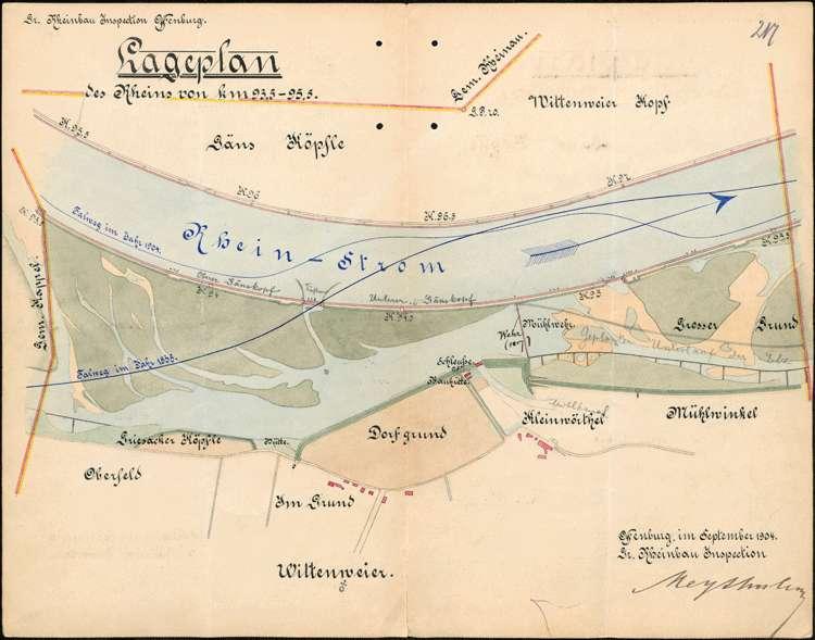 Entnahme von Kies hinter der Baulinie am Rhein bei Wittenweier; Baumaßnahmen an den Rheindämmen; Elzwehr bei Wittenweier; Rheinschifffahrt bei Wittenweier, Bild 2