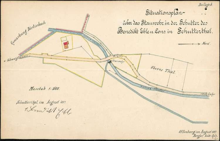 Neuerstellung des Stauwehrs des Müllers Benedikt Eble (dann J. Singler) auf Gemarkung Schuttertal, Bild 2