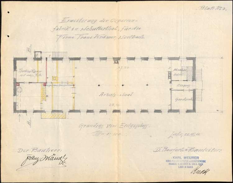 Errichtung, Betrieb und Erweiterung der Zigarrenfabrik des Franz Krämer in Schuttertal, Bild 3