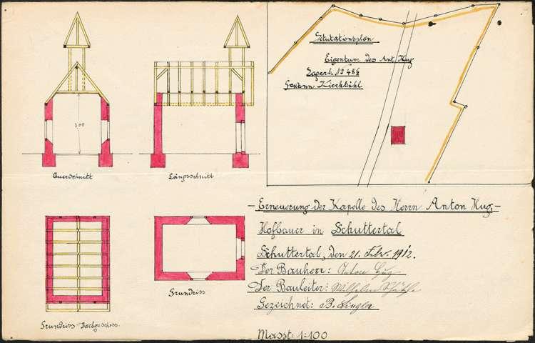 Gesuch des Hofbauern Anton Hug in Schuttertal um Genehmigung zum Abbruch und zur Neuerrichtung der auf seinem Hof stehenden Kapelle, Bild 1