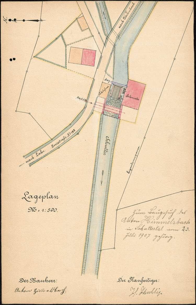 Erstellung einer Brücke über die Schutter auf Gemarkung Schuttertal durch den dortigen Schmiedmeister Anton Himmelsbach, Bild 1