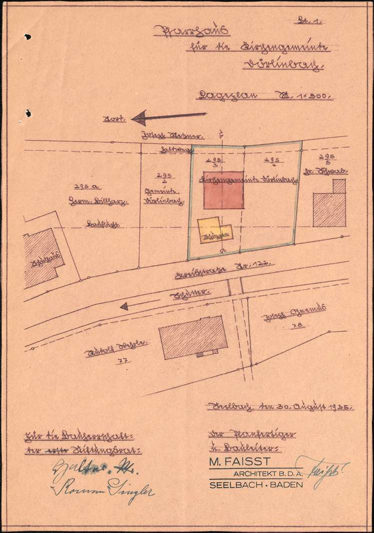 Gesuch der katholischen Kirchengemeinde in Dörlinbach um Genehmigung zum Neubau eines Pfarrhauses, Bild 1