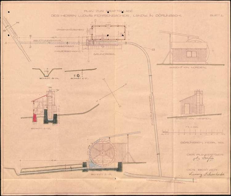 Gesuch des Ludwig Fehrenbacher in Dörlinbach um wasserpolizeiliche Genehmigung seines Wasserwerkes und der Änderung der Kraftübertragung, Bild 2