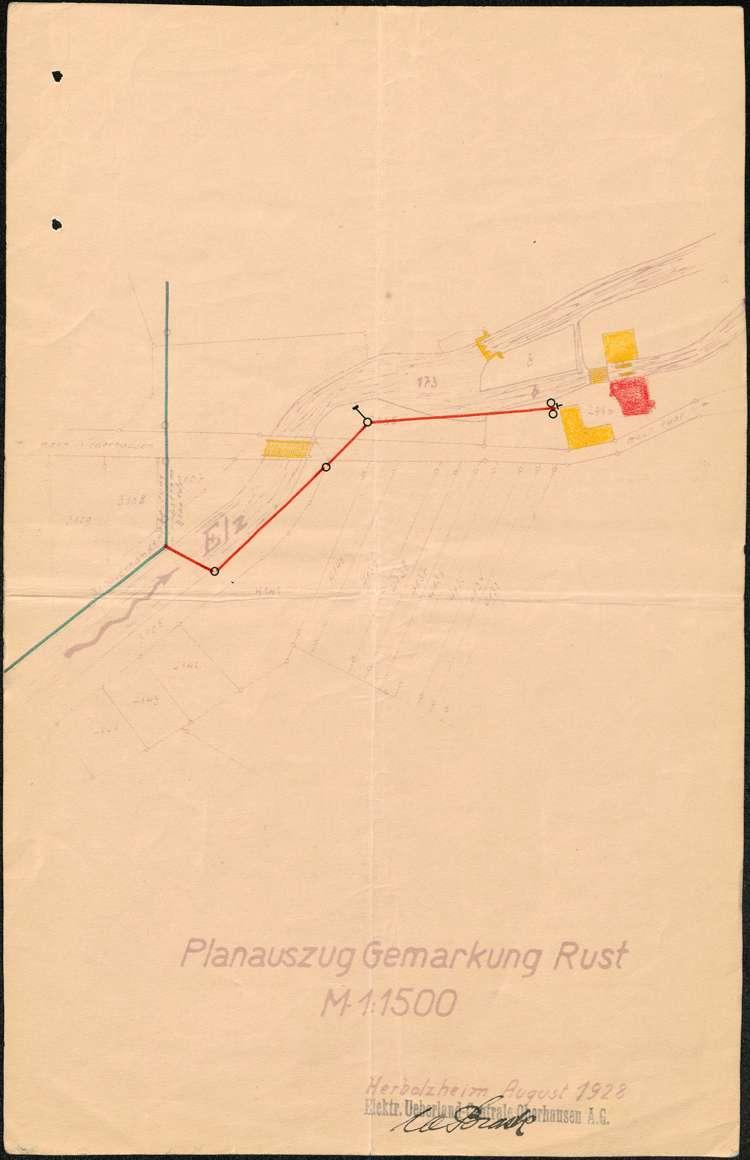 Gesuch um Genehmigung zur Errichtung einer Abzweigung von der Hochspannungsleitung nach Rust zur Mühle des Müllers Herr auf dortiger Gemarkung, Bild 1