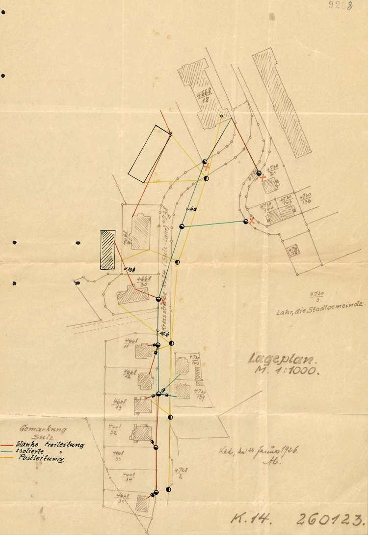 Gesuch um Genehmigung zum Ausbau der elektrischen Kraftleitung an der Sulzer Straße in Lahr, Bild 1