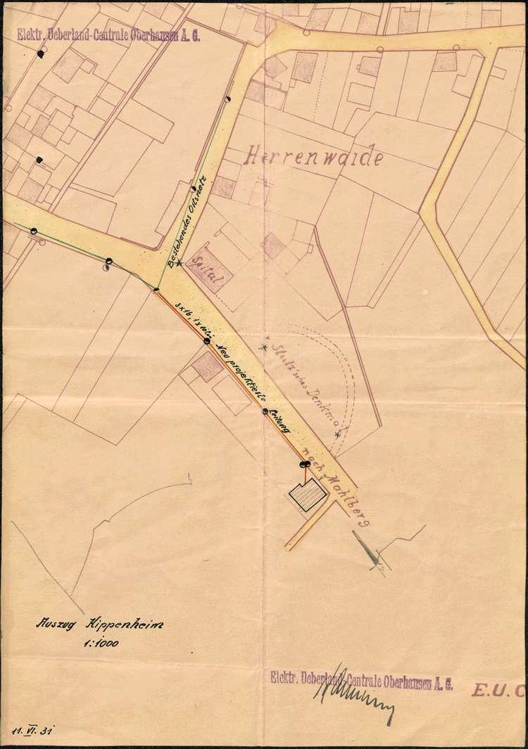 Gesuch um Genehmigung zur Erweiterung des Hochspannungsortsnetzes der Gemeinde Kippenheim, Bild 1