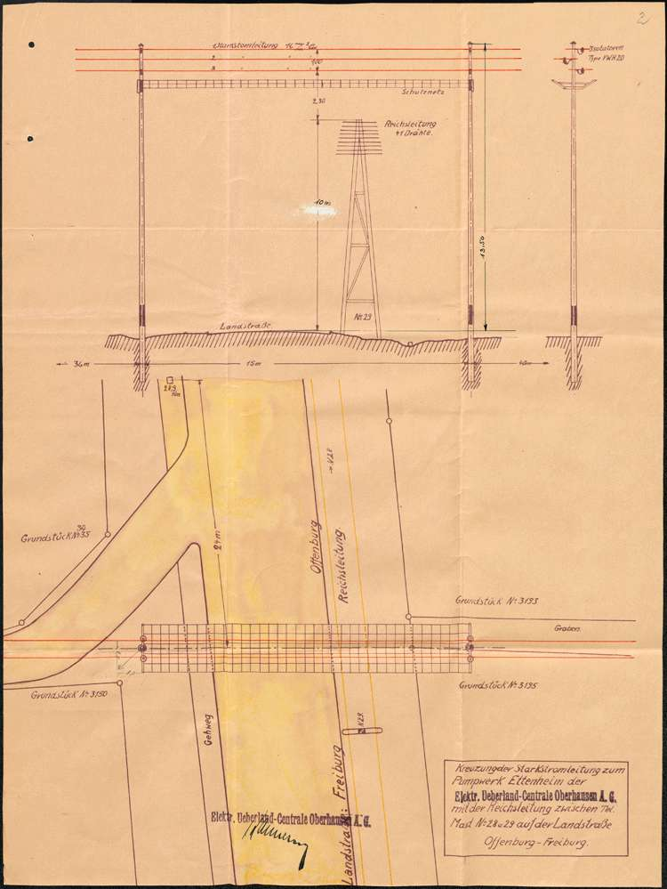 Gesuch um Genehmigung zur Errichtung einer Hochspannungsleitung zum Pumpwerk in Ettenheim, Bild 2