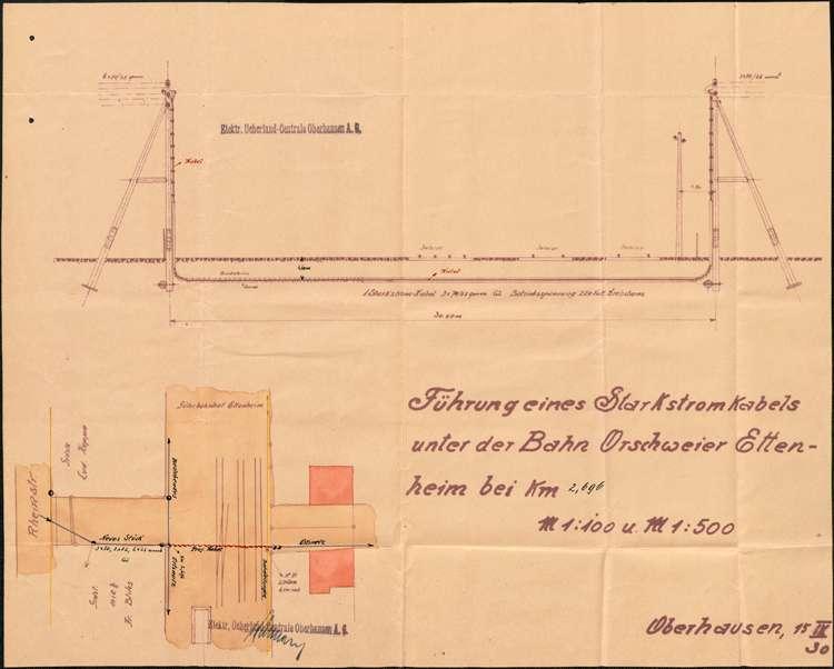 Gesuch um Genehmigung zur Verlegung einer Niederspannungsleitung unter dem Güterbahnhof in Ettenheim, Bild 2