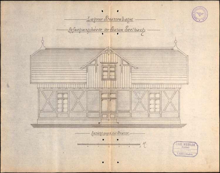 Bau eines Aufnahmegebäudes mit Abortanlagen auf dem Bahnhof Seelbach durch die Lahrer Straßenbahn-Gesellschaft, Bild 2