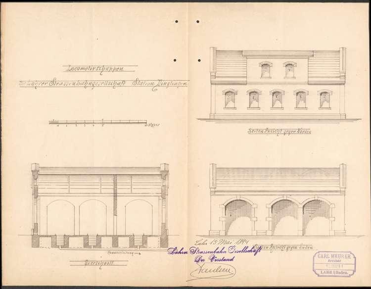 Bau eines Lokomotivschuppens am Bahnhof Dinglingen durch die Lahrer Straßenbahn-Gesellschaft, Bild 1