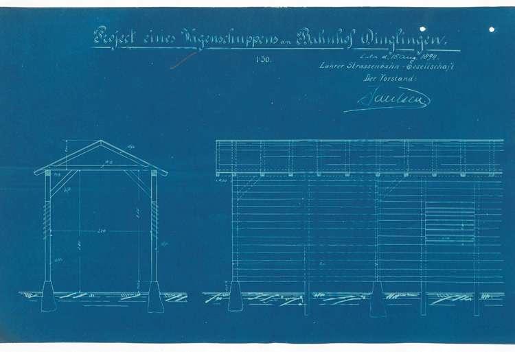 Bau eines provisorischen Wagenschuppens am Bahnhof Dinglingen durch die Lahrer Straßenbahn-Gesellschaft, Bild 2