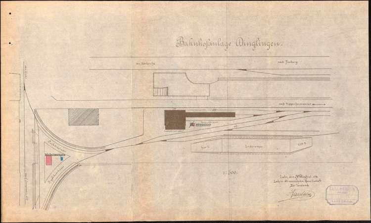 Bau eines Abortgebäudes und eines Fahrkarten-Ausgaberaumes am Bahnhof Dinglingen durch die Lahrer Straßenbahn-Gesellschaft, Bild 1