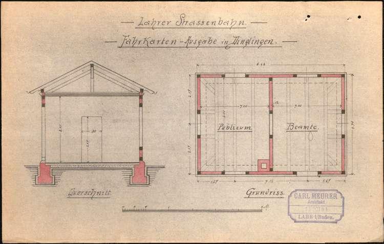 Bau eines Abortgebäudes und eines Fahrkarten-Ausgaberaumes am Bahnhof Dinglingen durch die Lahrer Straßenbahn-Gesellschaft, Bild 3